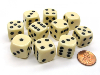 Set of 10 D6 16mm Rounded Corner Opaque Dice - Ivory with Black Pips