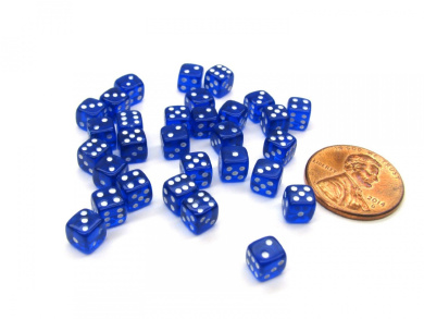 Set of 30 D6 5mm Transparent Rounded Corner Dice - Aqua with White Pips