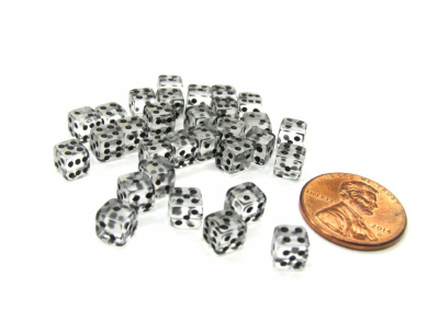 Set of 30 D6 5mm Transparent Rounded Corner Dice - Clear with Black Pips