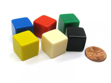 Set of 6 D6 16mm Blank Opaque - 1 Each of Blue Red Green Yellow Ivory and Black