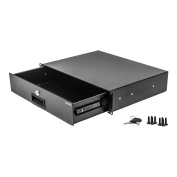 Navepoint Rack Mount Drawer For 48cm Server Cabinet Case Or DJ With Lock And Key 2U Black