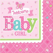 Baby Shower 'Welcome Little One Girl' Small Napkins
