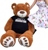 Big Plush Happy Graduation Giant Teddy Bear Five Feet Tall Cinnamon Colour Wears T shirt that says HAPPY GRADUATION