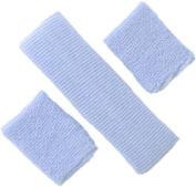 Sweatband 3-Piece Set - (1) headband, (2) Wirstbands, Colourful Soft Absorbant Elastic Terry Cloth