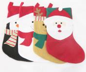 Christmas Character Stockings -4 Pack Santa Snowman Reindeer Penquin