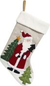 Santa Christmas Stocking with Fleece Cuff and Felt Applique - 47cm