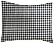 SheetWorld Crib / Toddler Percale Baby Pillow Case - Black Gingham Cheque - Made In USA