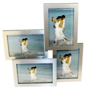 Brushed Aluminium Satin Silver Colour 4 Picture Multi Aperture Photo Frame Gift - Holds 4 photographs No. 54