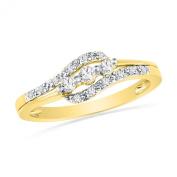 10KT Yellow Gold Round Diamond Three Stone Bypass Promise Ring