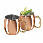 Oggi 9010 Moscow Mule Mugs (Set of 2), 590ml, Gold