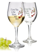 Wine Glass set with I Love You to the Moon and Back Standard Clear Wine Glass 410ml - Set of 2