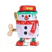 Vintage Retro Style Wind up Snowman Tin Toy Collectible Gift w/ Key