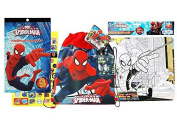 SpiderMan Toys Bundle Pack Includes Sticker Pack, Colouring Puzzle with 4 crayons and Non Woven Sling Backpack