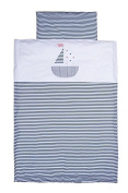 Vizaro - 3 Piece Bedding Set of Sheets for COT - 100% premium quality luxury cotton - Little Sailing Boat - Tested against harmful substances - Made in EU