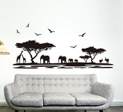 Black Trees Animals Birds Wall Decal Home Sticker House Decoration WallPaper Removable Living Dinning Room Bedroom Kitchen Art Picture Murals DIY Stick Girls Boys kids Nursery Baby Playroom Decoration