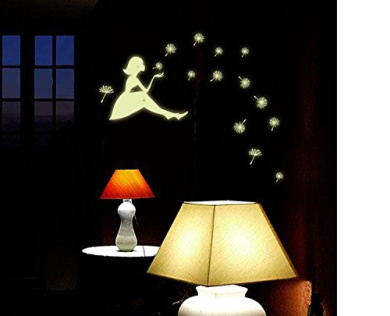 The Girl Blowing the Dandelions Night Lighting Wall Decal Home Sticker House Decoration WallPaper Removable Living Dinning Room Bedroom Kitchen Art Picture Murals DIY Stick Girls Boys kids Nursery Baby Playroom Decoration