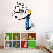 Play Basketball Slam Dunk Wall Decal Home Sticker House Decoration WallPaper Removable Living Dinning Room Bedroom Kitchen Art Picture Murals DIY Stick Girls Boys kids Nursery Baby Playroom Decoration