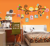 Lovely Owls Photos Leaves Branch Wall Decal Home Sticker Paper Removable Living Dinning Room Bedroom Kitchen Art Picture Murals DIY Stick Girls Boys kids Nursery Baby Playroom Decoration