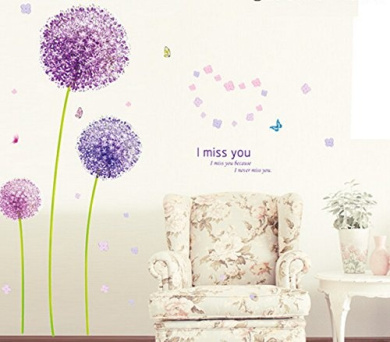 Purple Dandelion Wall Decal Home Sticker Paper Removable Living Dinning Room Bedroom Kitchen Art Picture Murals DIY Stick Girls Boys kids Nursery Baby Playroom Decoration