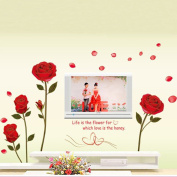 Red Rose Flowers Leaves Wall Decal Home Sticker Paper Removable Living Dinning Room Bedroom Kitchen Art Picture Murals DIY Stick Girls Boys kids Nursery Baby Playroom Decoration