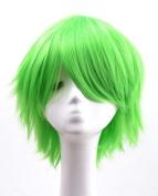 Etruke Short Straight Green Party Heat Resistant Cosplay Wigs