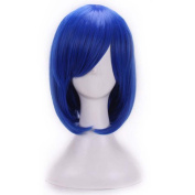 Etruke Short Straight Blue Synthetic Party Hair Cosplay Wigs