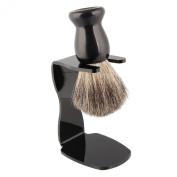 Beauty7 Shaving Set with Bristle Brush & Bowl in elegant black finish