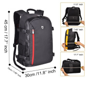 YuHan Oxford Large Capacity Multi-function Waterproof Anti-shock SLR/ DSLR Gadget Camera Bag Professional Gear Photography Travel Backpack Rucksack with Inner Padding and Extra Rain Cover for Canon Nikon Sony Nikon Olympus Samsung Black + Red