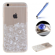 Etche Bling Rubber Case for iPhone 6 6S,Clear Tpu Case for iPhone 6 6S,Elegant White Flower Design Diamond Slim Fit Clear Rubber Case Cover for iPhone 6 6S 12cm with Blue Stylus Pen and Bling Glitter Diamond Dust Plug Colours Random-Elegant White Flower