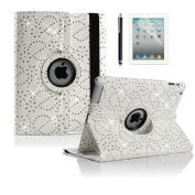 Boriyuan Apple iPad Air 2 case cover , 360 Rotating Leather Smart Case Cover Flower Pattern Case With Stand Cover PU Leather Case Free Screen Protector+ Stylus Colour