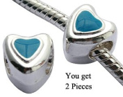 BlingBling Glitz Heart Beads Compatible with Pandora Design Hand - You Get 2 pcs