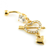 14g (1.6mm) Stainless Steel Heart and Arrow Dangle Belly Navel Ring
