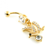 14g (1.6mm) Stainless Steel Cubic Zirconia Dove Dangle Belly Navel Ring