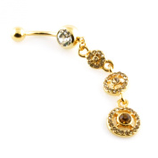 14g (1.6mm) Stainless Steel Circle Chandelier Dangle Belly Navel Ring
