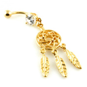 14g (1.6mm) Stainless Steel Three Feather Dreamcatcher Dangle Belly Navel Ring
