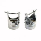 Jade Angel Sterling Silver Mother of Pearl Hoop Earrings Thai Vintage Jewellery