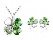 BlingBling Glitz Set of Earring and Pendant with Shamrock Design