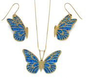 Butterfly Necklace and Earring Set - Handcrafted Exquisite Jewellery in 24K Gold Plated Silver