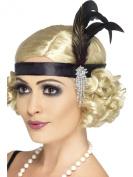 1920s Flapper Feather Headband Black