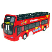 Alloyed Mini Double-Decker Open-top Sightseeing Bus Model, Red