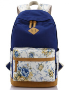 Leaper Casual Style Lightweight Canvas Laptop Backpack Cute Travel School College Shoulder Bag/bookbags/daypack for Teenage Girls/students/women-with Laptop Compartment Navy Bule