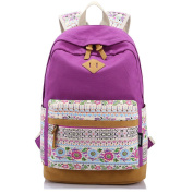 Leaper Casual Style Lightweight Canvas Laptop Backpack Cute Travel School College Shoulder Bag/Bookbags/Daypack for Teenage Girls/Students/Women-With Laptop Compartment Purple