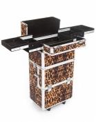 Urbanity Professional Large Aluminium Beauty Makeup Trolley Case Leopard