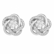 Ornami Sterling Silver Pearl and Cubic Zirconia Set Swirl Knot Front Back Earrings