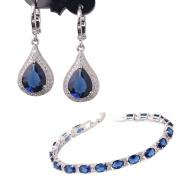 GULICX White Gold Electoplated Silver Tone Sapphire Colour Blue CZ Jewellery Set Dangle Earrings Bracelet