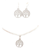 Dunns-jewels Silver-plated Circle Tree Of Life Necklace and Silver-Plated Earrings set