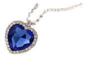 Titanic Heart Of The Ocean Necklace Blue Crystal Heart On White Crystal Set Silver Plated Alloy Chain