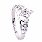 Ecloud Shop® Wedding Rings Sterling Silver Heart Princess Crown