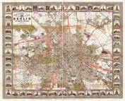 MAP ANTIQUE 1896 STRAUBE BERLIN MONUMENTS PLAN LARGE REPRO POSTER PRINT PAM0378