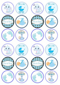 Its A Boy Mix Baby Shower/Birth, Edible PREMIUM THICKNESS SWEETENED VANILLA Wafer Rice Paper Cupcake Toppers/Decorations